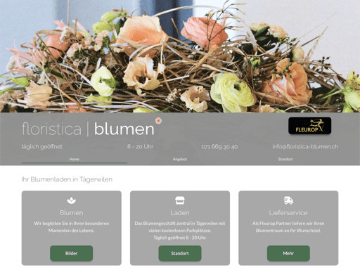Screenshot der Webseite www.floristica-blumen.ch