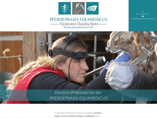 Screenshot der Webseite www.pferdepraxis-equimedicus.ch